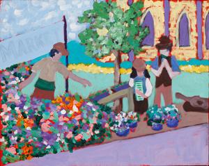 """Farmers Market"" Acrylic Painting"