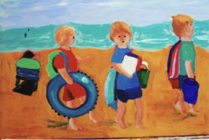 """Littles at the Beach"" Acrylic Painting"